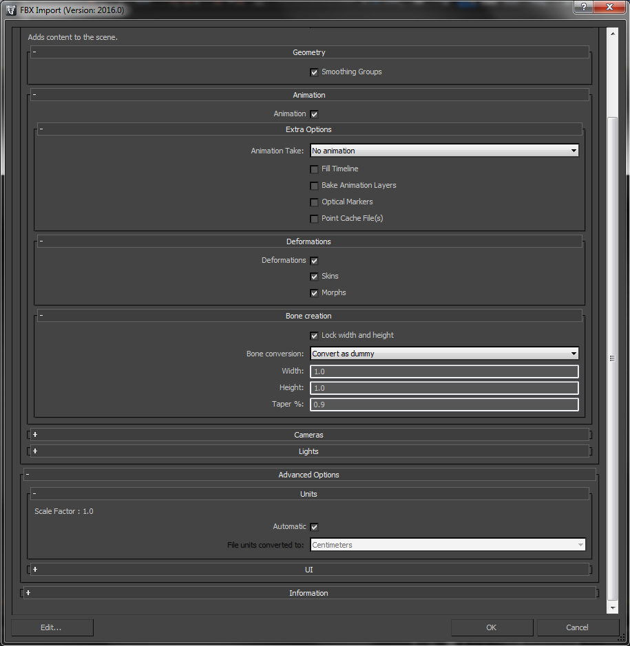 FBX import settings