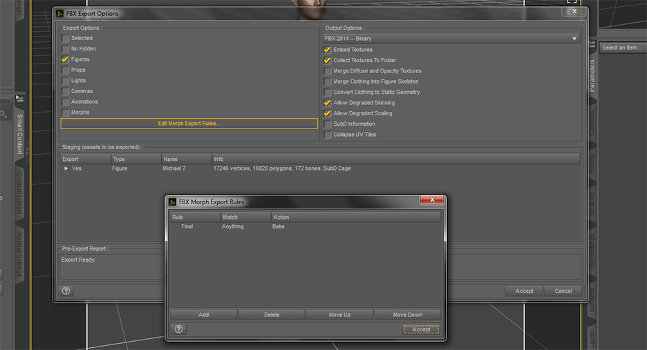 FBX export settings