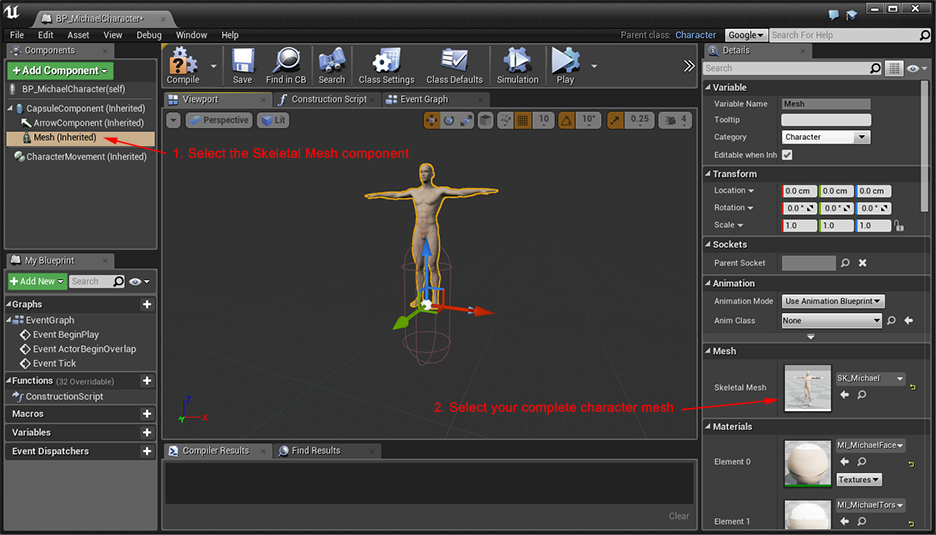 Daz studio to ue4 tutorial part 2 epic wiki skeletal mesh component malvernweather Images